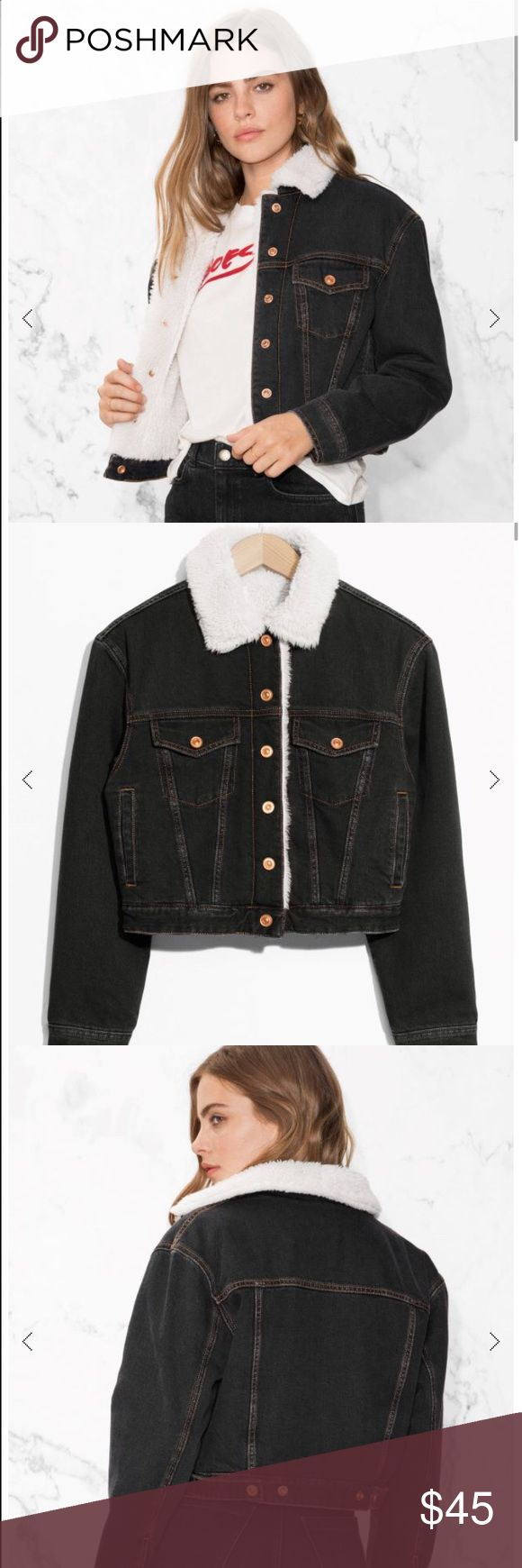 NEW & Other Stories Denim jacket w/ shearling BRAND NEW (w tags) & Other Stories Slightly cropped denim jacket lined with shearling for warmth. Features a shearling neck. Dark indigo wash (as in photo). Size m. Fits like an S & Other Stories Jackets & Coats Jean Jackets