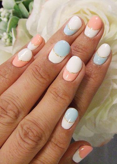 Simple peach, powder blue, white and gold tape design
