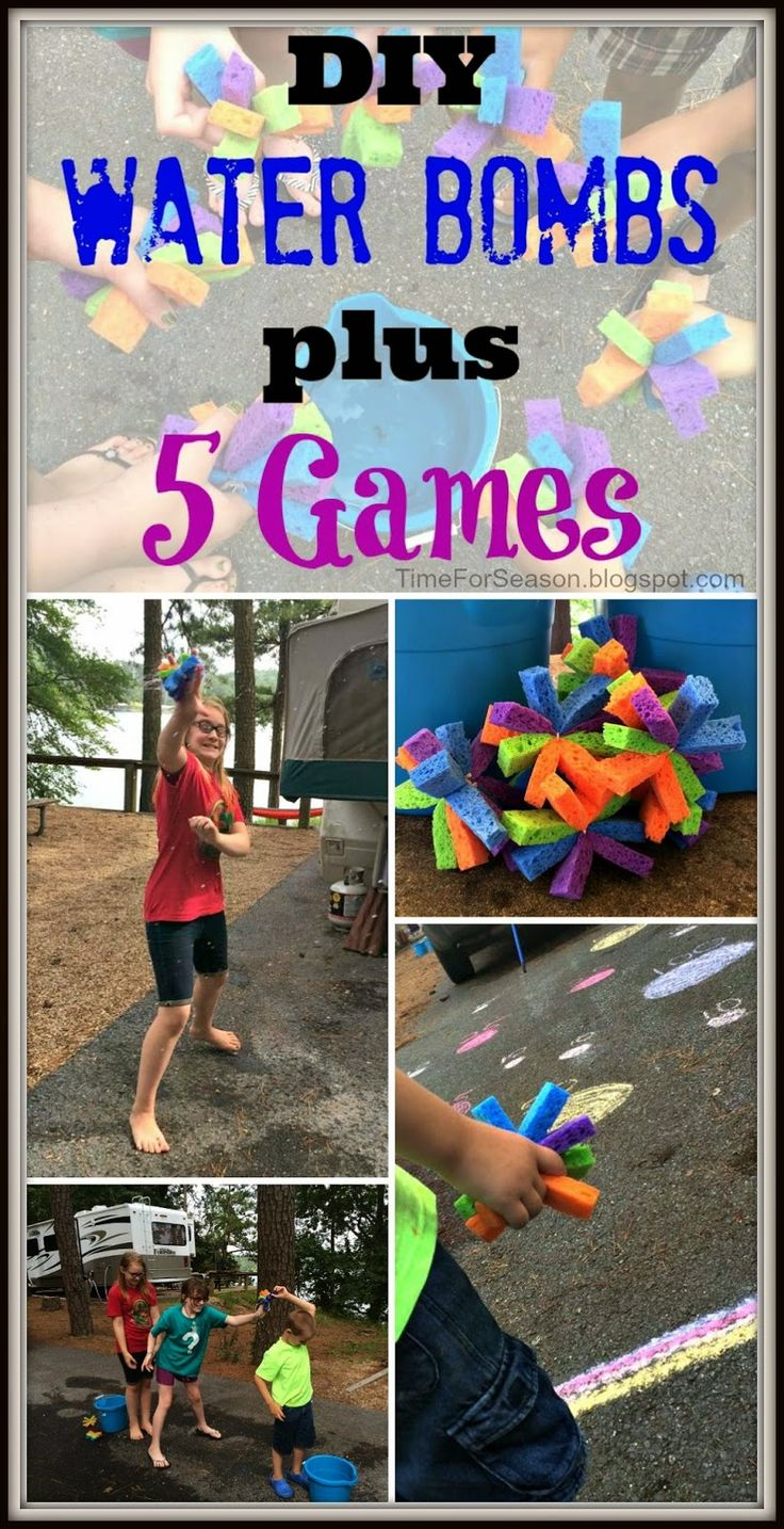 DIY Water Sponge Bombs Plus 5 Games                              great for summer and camp
