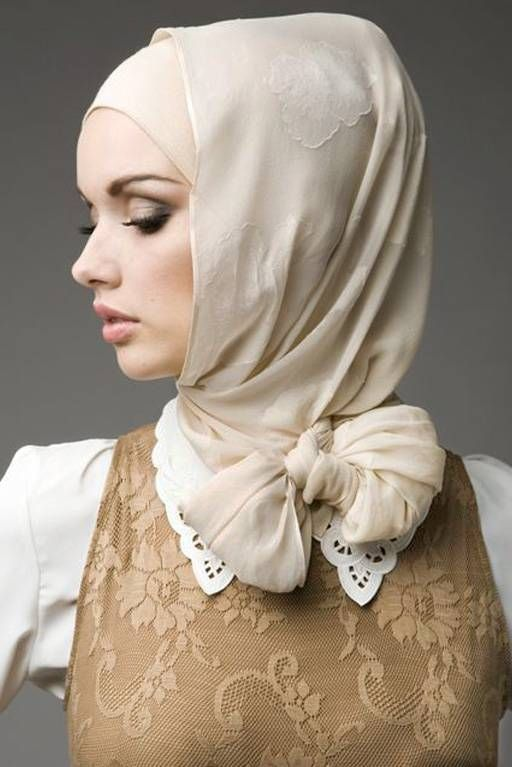 Ivory Textured Floral Hijab- so elegant but might look weird facing fwd in real life lol