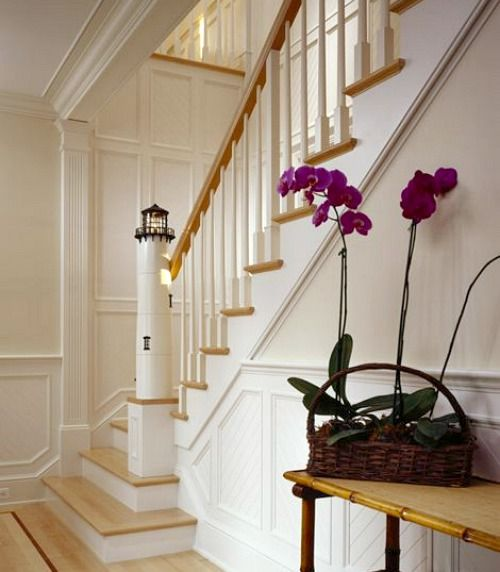 Nautical Stairway Newel... Entryay/Hallway idea if you have staircase: http://www.completely-coastal.com/2016/06/nautical-lighthouse-newel-post-for-stairway.html
