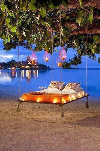 I would take this over a house if weather was great and bugs were scarce #bed #beach #candles