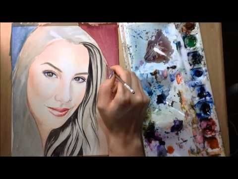 Watch me paint my sister's portrait really quickly! We collaborated on this 2-part video project: she came up with a makeup look, and I painted it.