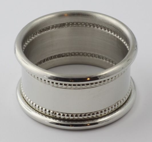 Pewter Napkin Ring w/ Beaded Border - Made in USA $18.75