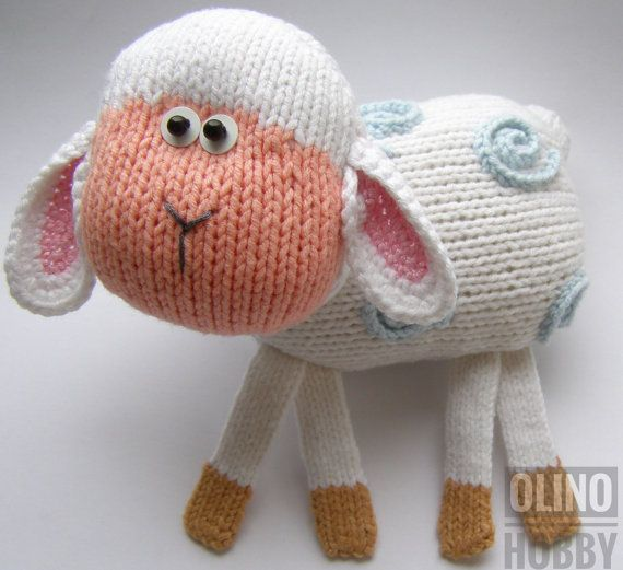 LAMB Knitting Pattern PDF - Patrón de cordero tejido Patrón de juguete animal. Tutorial de tejer - Cómo tejer cordero de juguete lindo