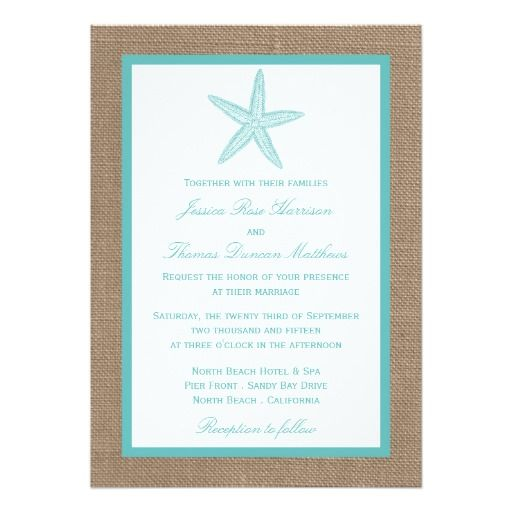 Turquoise Starfish Burlap Beach Wedding Collection 5x7 Paper Invitation Card