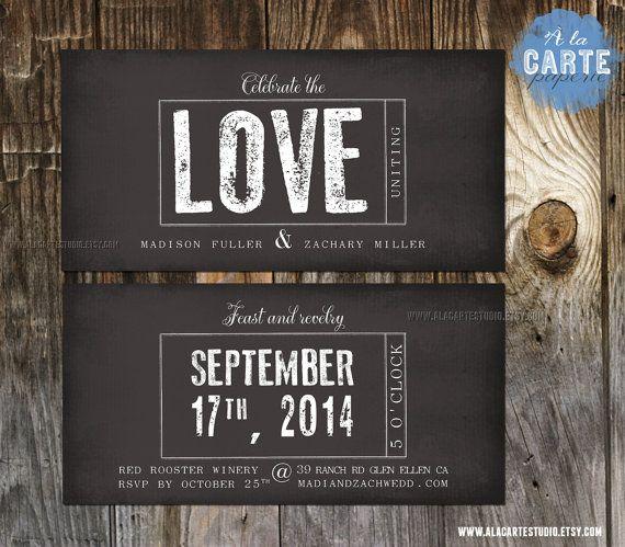 Chalkboard Stamp Wedding Invitation - Modern Urban Rustic Vintage Wedding - Winery Wedding