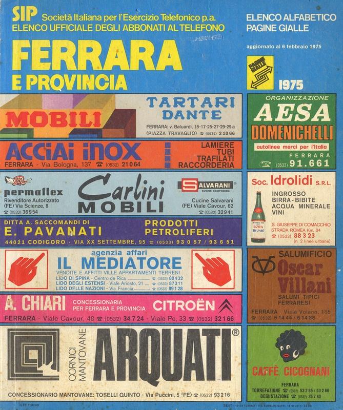 Elenco telefonico di Ferrara e provincia (1975).