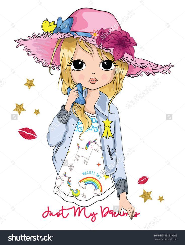 cute girl / t-shirt print / book illustrations for children