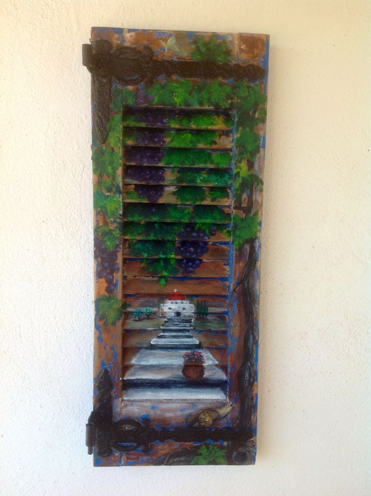 Painting on old Greek shutters by Anne