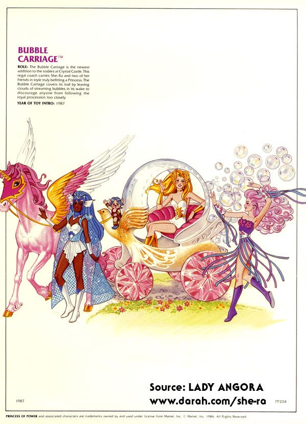 Bubble carriage with she Ra, netossa, spinnerella, loo kee, swift wind