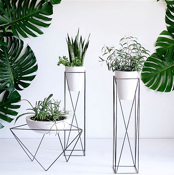 Suitable for indoor or outdoor use, these geometric planters by KKDW will create an impressive focal point in any space. The pots are cast from white concrete, and the stands are welded from steel.…