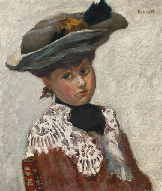 Pierre Bonnard (French, 1867-1947) - Portrait of Young Woman or Hat, 1905