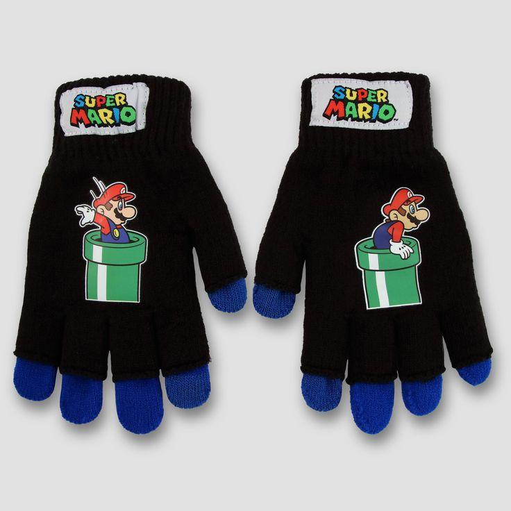 Boys' Nintendo Mario Texting Gloves - Black, Size: S/M