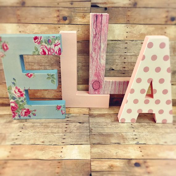 Shabby chic letters floral letters vintage nursery by Ajobebe