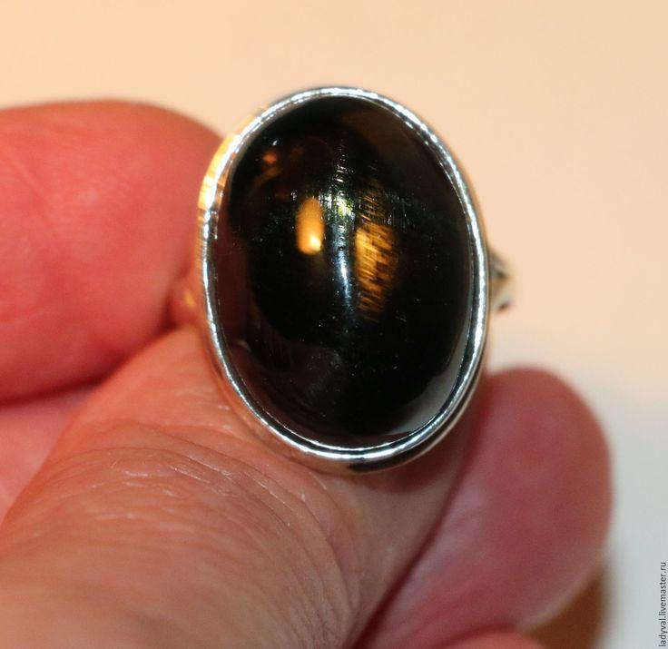 """Купить Кольцо диопсид звёздчатый-серебро 925%.""""ЗВЕЗДА МАГА"""" - тёмно-зелёный, необычный подарок"""