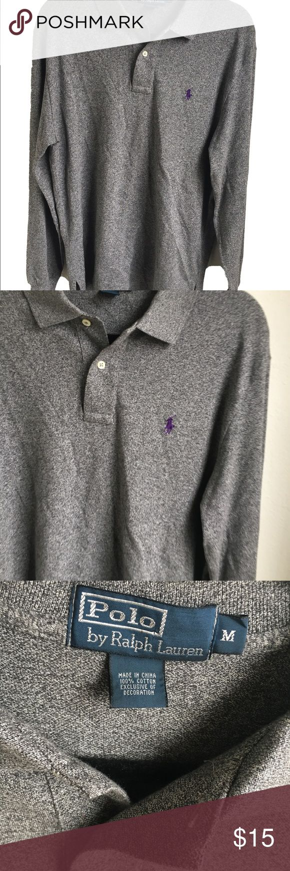 """Polo By Ralph Lauren Sz M Mens Long Sleeve Polo By Ralph Lauren Sz M Mens Long Sleeve Pullover Gray Blend T-shirt. Pit to pit 21"""" Length 30"""" Polo by Ralph Lauren Shirts Tees - Long Sleeve"""