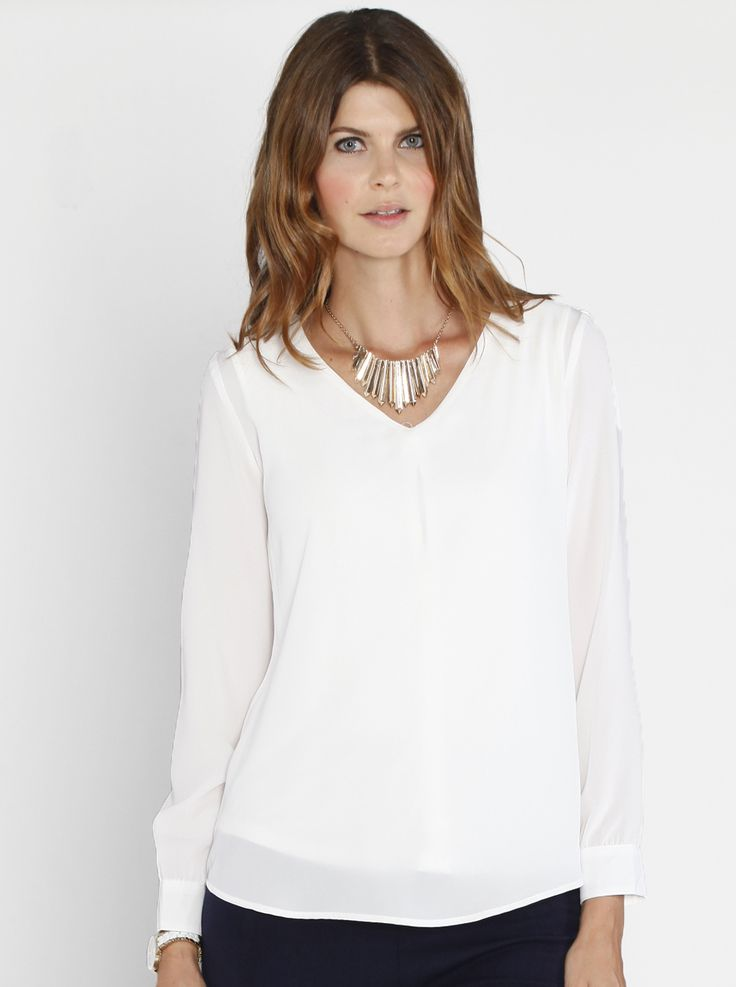 Layered Chiffon Nursing V-Neck Blouse in White, $49.95, is the perfect special occasion top. Team with maternity jeans and heels or our Angel Maternity straight pants.