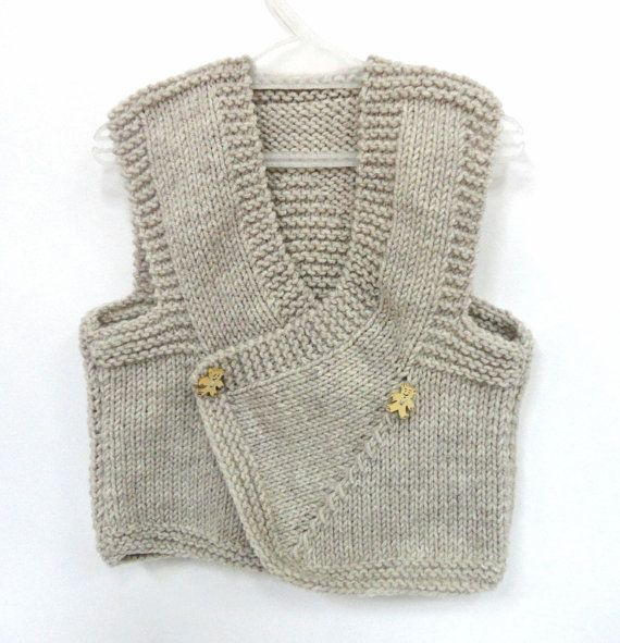 baby boy vest knit baby sweather beige knitted by senoAccessory, $20.00