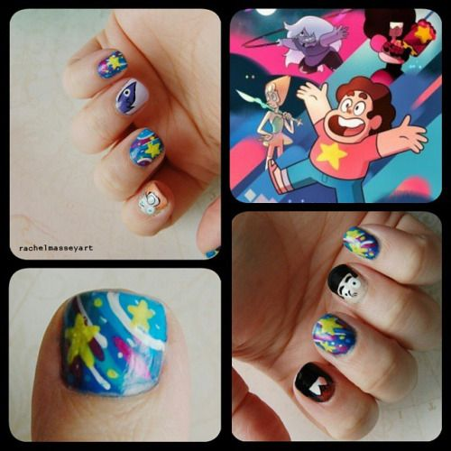 My Steven Universe inspired nails I painted for Birmingham Comic Con yesterday. I painted each of the gem's (and Steven's) faces and also tried to reflect the colours and shapes in the Steven Universe poster on the other nails.