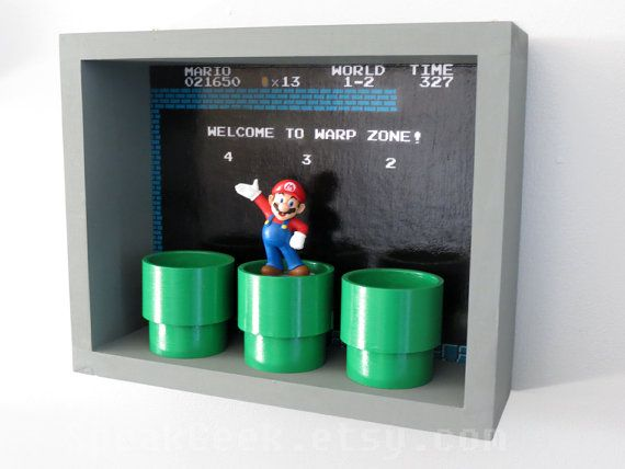Super Mario Bros Shelf soporte para caja de sombra por SpeakGeek