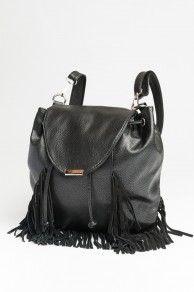 Black fringe leather backpack - ardenes $20.00