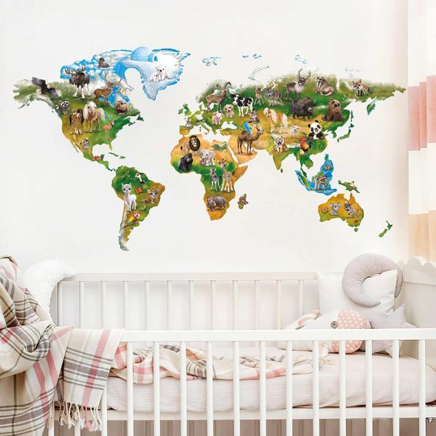 Wandtattoo Animal Club International Weltkarte Mit Tieren Wandtattoo Kinderzimmer Aufkleber Fur Wande Wandtattoo Weltkarte