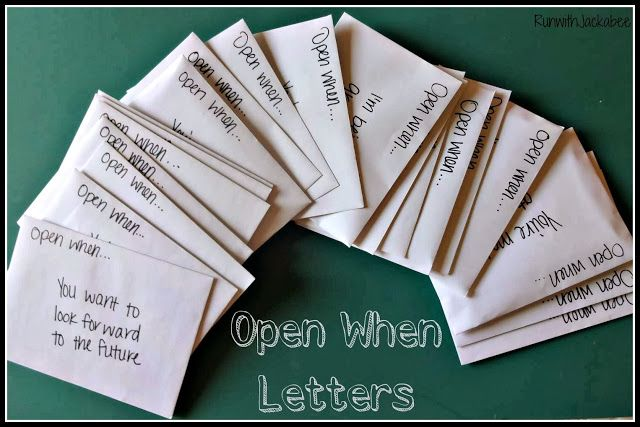 Open When... Letters. The perfect give for a significant other. This article includes pictures and a tutorial. www.runwithjackabee.blogspot.com