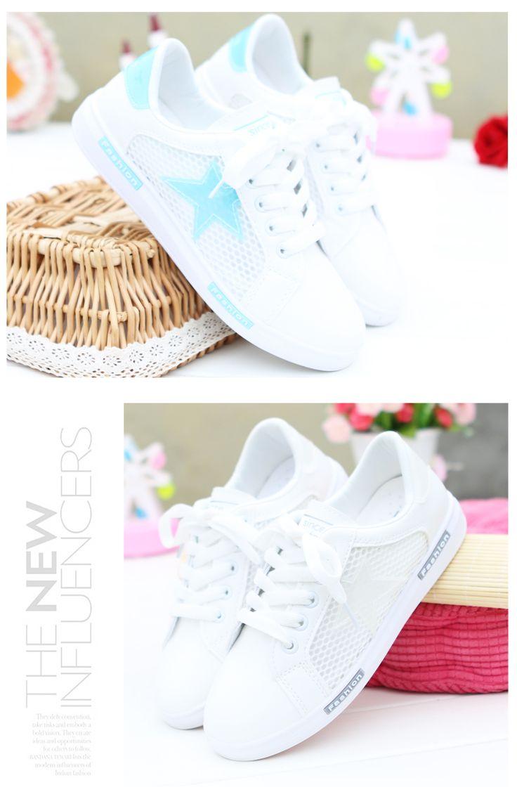 Корейская дикая длинная яркая белые туфли для девочек спортивной обуви сетки ажурных кружев сетки обуви плоских туфли студент летом -tmall.com Lynx