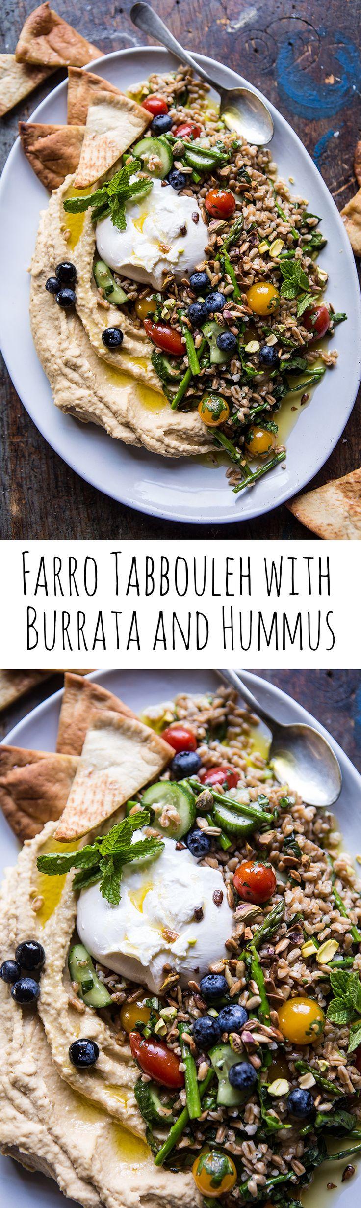 Farro Tabbouleh with Burrata and Hummus   halfbakedharvest.com @hbharvest