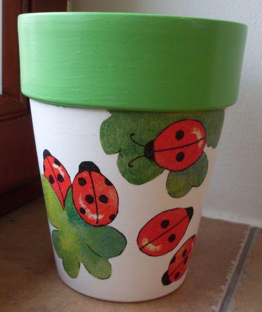 decoupage flowerpots by janaen: ladybird