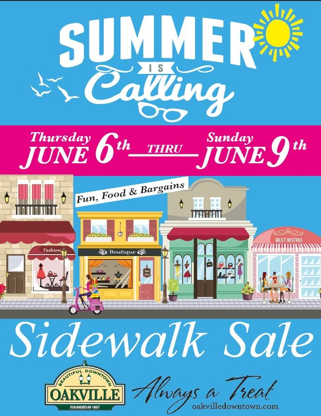 Downtown Oakville Sidewalk Sale June 6-9.