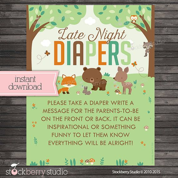 Woodland Baby Shower Late Night Diaper Game by stockberrystudio
