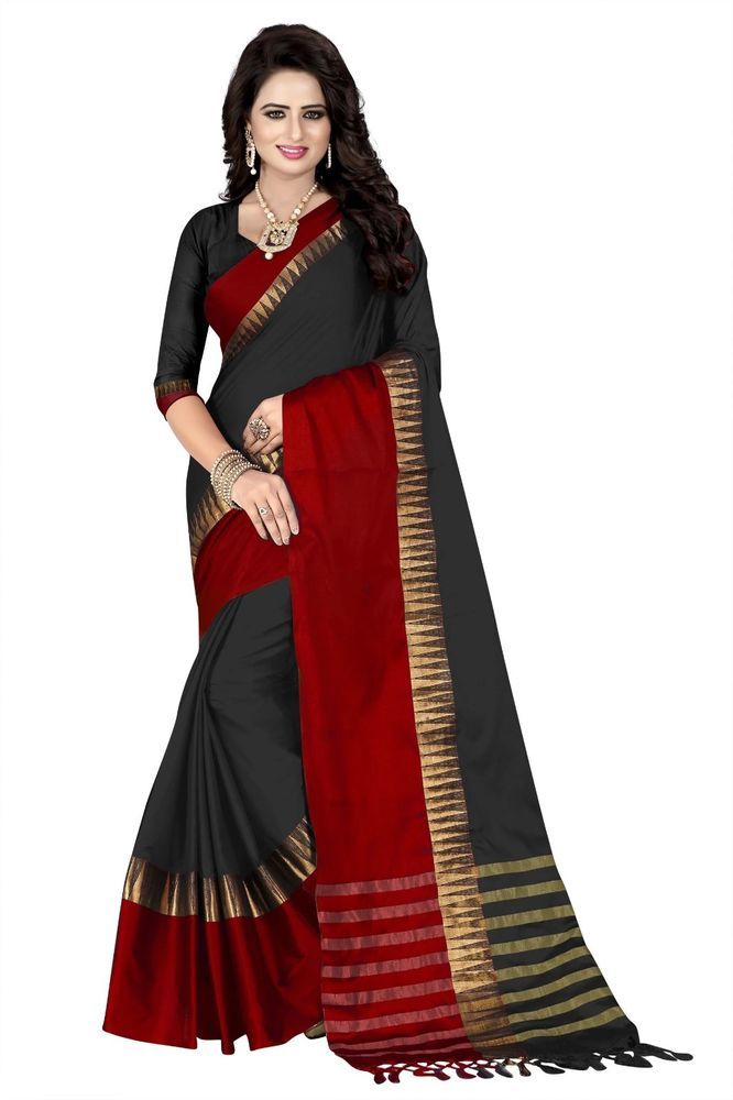 Indian Ethnic Black Red Designer Traditional Saree Fashionable style Free Blouse 3