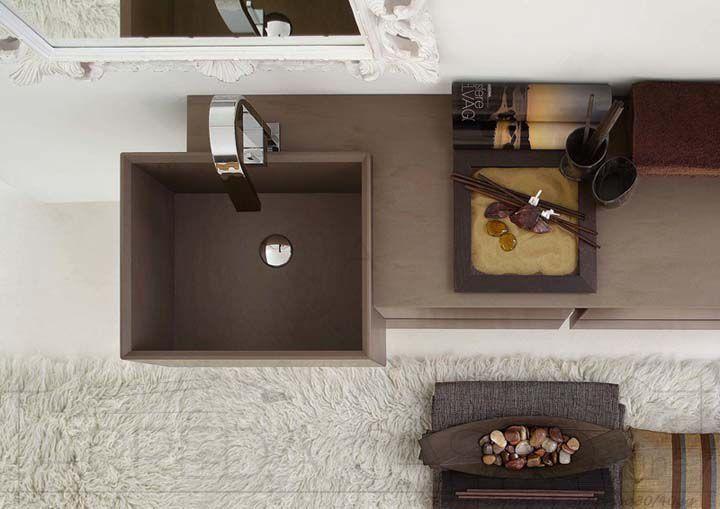 Arredo Bagno marrone cacao specchio classico Esc09 | Prezzo ARREDACASAOnLine