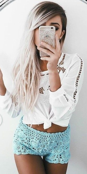 #summer #girly #outfits | White Embroidery + Mint Knit