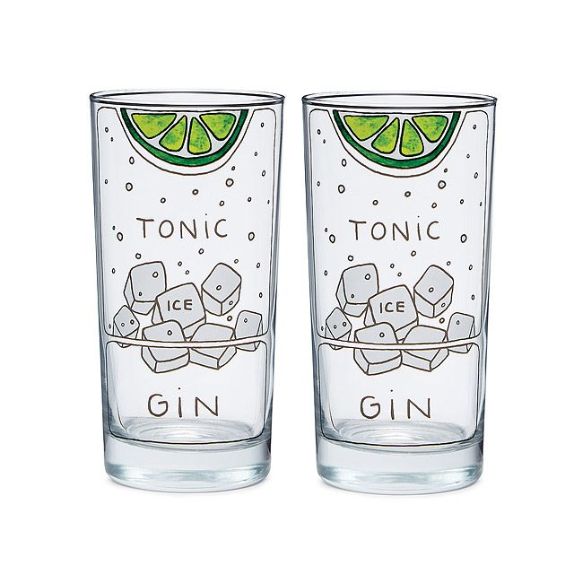 Gin and Tonic Diagram Glassware - Set of 2   highball glass   UncommonGoods