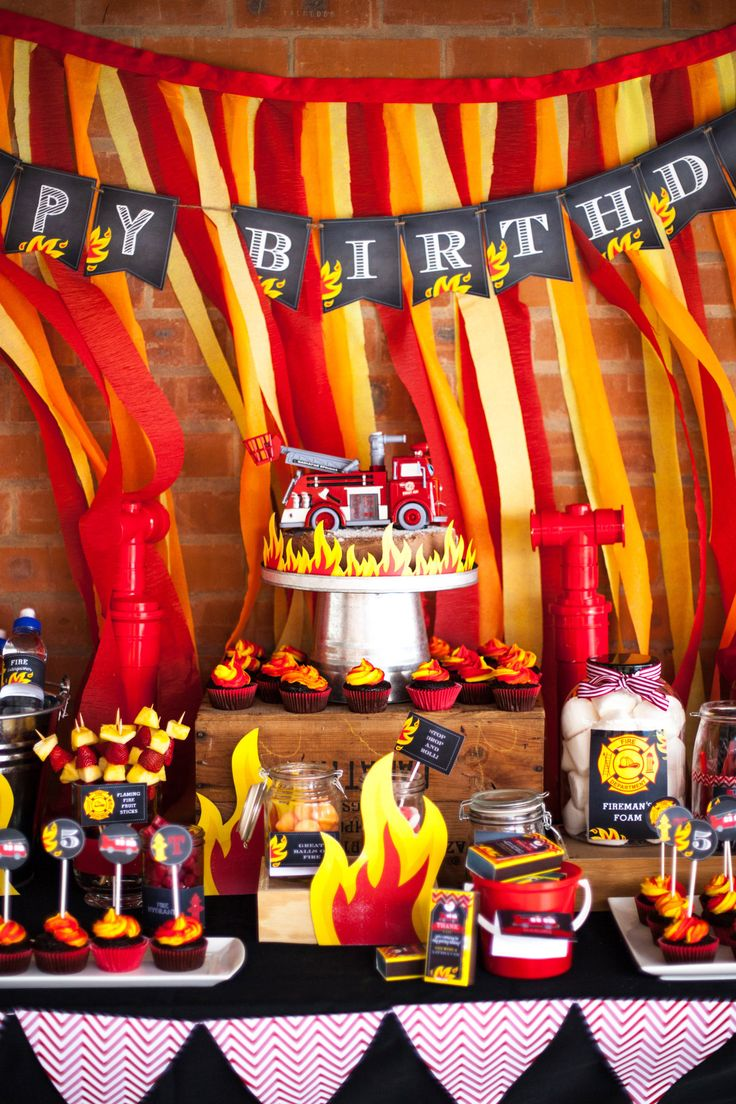Chalkboard Fireman Party Table #coolglow #partysupplies