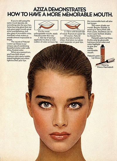 Brooke Shields for Azia, 1980....I loved Aziza makeup in the 70s...b♡