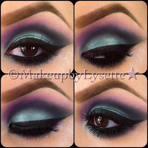 Mermaid eyes! I love these colors!  so on the lid use MAC parrot the crease is stormwatch and also used an old Makeup Designory navy blue shadow in smoked sapphire top lashes are the 28 from da vinci  @makeupbylysette