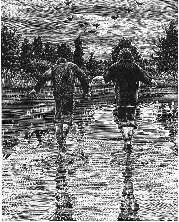 Andy English ~ Walking on Water: Crossing the Flooded Fields at Dusk (wood engraving)