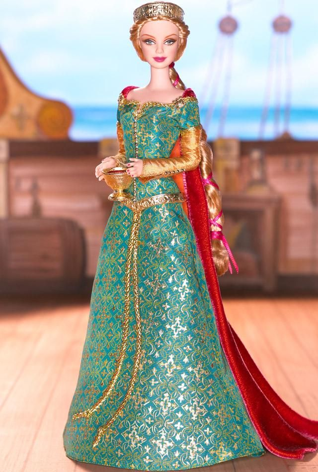 Spellbound Lover™ Barbie® Doll    Iseult, legendary lady of the emerald isle, ill-starred innocent in an ancient story of heroic deeds and love lost is the third doll in the Legends of Ireland™ Collection. In the medieval tale of Tristan and Iseult, a magic draught is shared from a golden cup that binds their souls to one another.