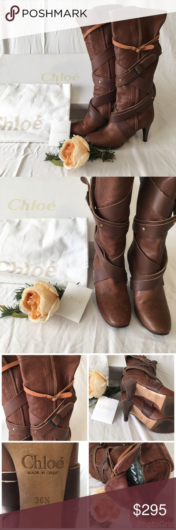 Chloe brown leather strapted boots Cute! Cute! Cute! These will definitely define your fall/winter fashion! The leather is very soft inside and out and all four of the buckles are adjustable. Everything that came with these boots is included...box, dustbag, and booklet. Happy poshing🌷 Chloe Shoes Heeled Boots