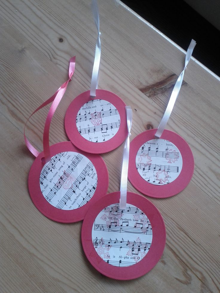 Simple easy Children's Craft made with Card stock, old music sheets, stamps and Ribbon.