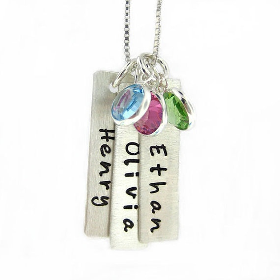 Hand Stamped Jewelry  Personalized Mothers by jcjewelrydesign