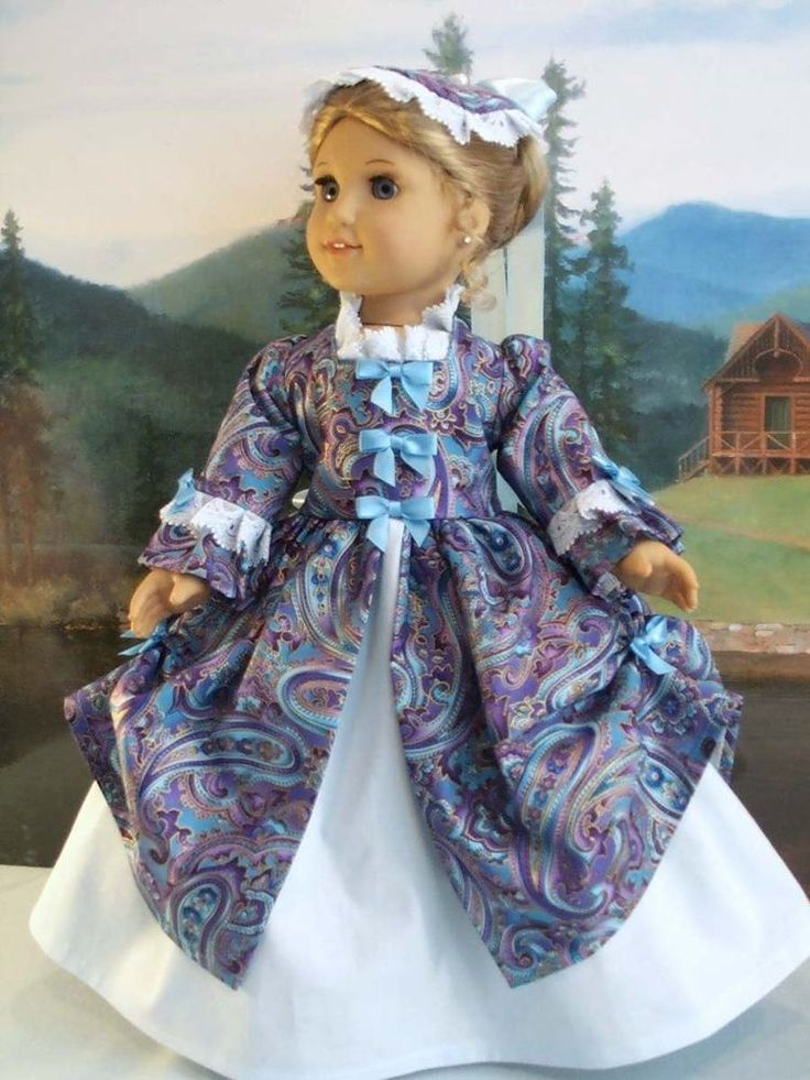 Williamsburg Blue Swirl fits American Girl Elizabeth Felicity 18 in. dolls