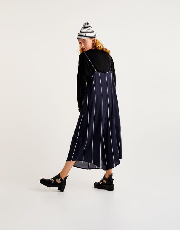 Комбинезон в полоску с брюками-кюлотами - Комбинезоны - Одежда - Для Женщин - PULL&BEAR Российская Федерация