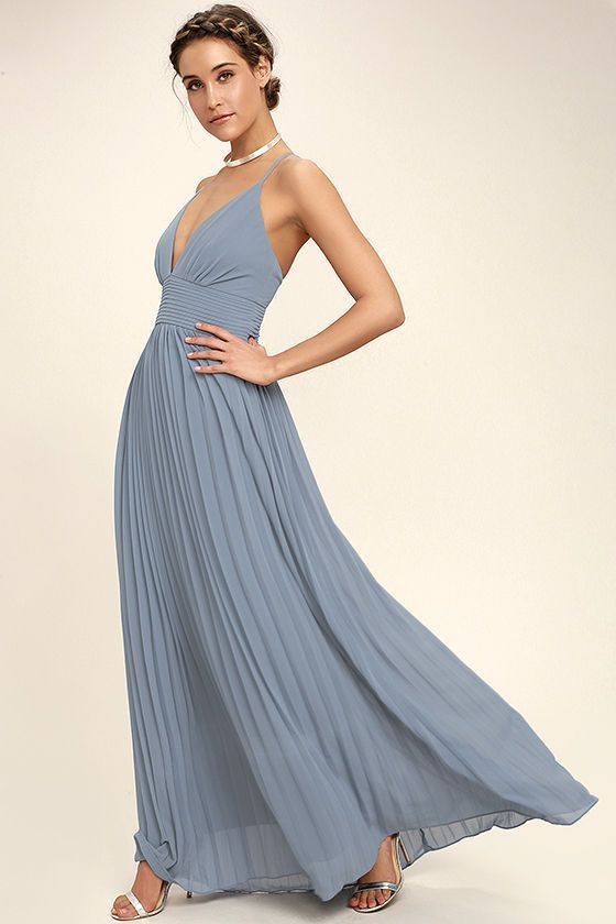 Deeper than the deep blue sea and the Grand Canyon combined ... that's how deep our love for the Depths of My Love Dusty Bluye Maxi Dress is! Elegant chiffon, in a dusty blue hue, shapes a triangle bodice and sultry V neckline supported by crisscrossing, adjustable spaghetti straps. The fitted, pintucked waistline accentuates your figure before flowing into an accordion pleated maxi skirt. Hidden back zipper and clasp.
