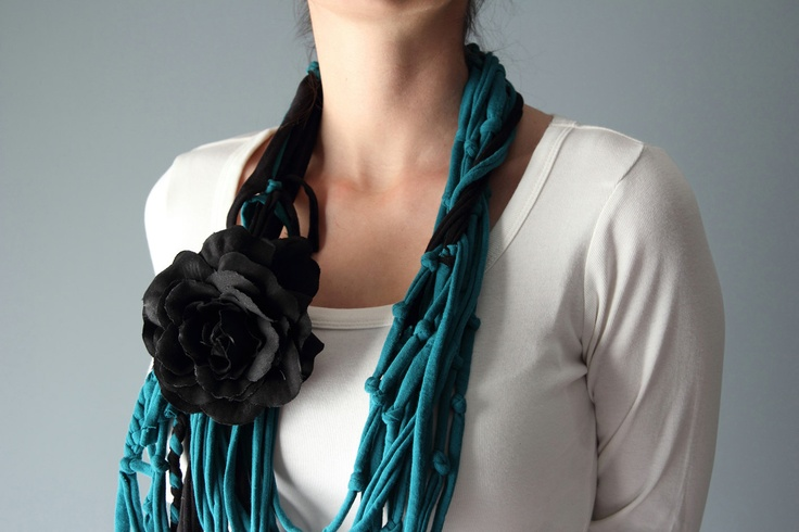 Teal SCARF NECKLACE with extra cotton rose brooch. $19.00, via Etsy.