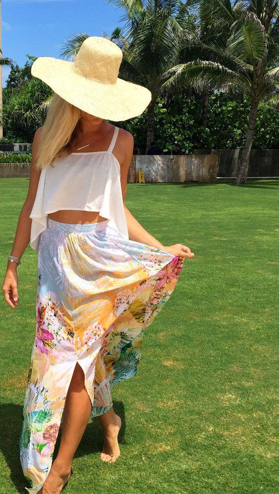 Floral Maxi Split Skirt  High Side Splits Long by ljcdesignss